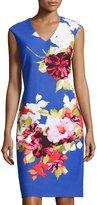Donna Ricco V-Neck Sleeveless Sheath Dress, Blue Pattern