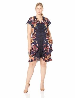 City Chic Women's Apparel Women's Plus Size Cap Sleeve Mirror Floral Zip Thru Tunic Dress