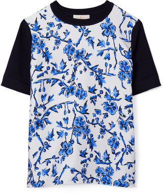 Tory Burch Floral Silk-Front T-Shirt