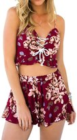 Simplee Apparel Women's 2 Piece V Neck Floral Print Jumpsuit Rompers Crop Shorts