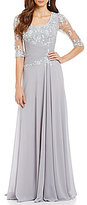 MGNY Madeline Gardner New York Lace Illusion Sleeve Gown