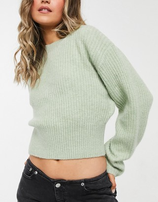 Weekday Jessa knitted jumper in sage green