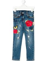 Monnalisa Jakioo rose patches slim jeans