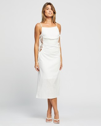 Reverse Women's White Midi Dresses - Tie-Up Midi Dress - Size XS at The Iconic