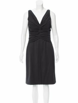Valentino Ruched Wool Dress Black
