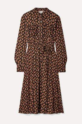 Diane von Furstenberg Antonette Belted Paisley-print Tulle Dress - Black