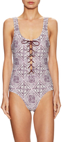 Zimmermann Batik Ryker Lace Up One Piece Swimsuit