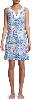Tommy Bahama Mixed-Print Cotton-Blend Mini Dress