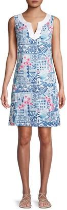 Tommy Bahama Mixed-Print Cotton-Blend Mini Dress