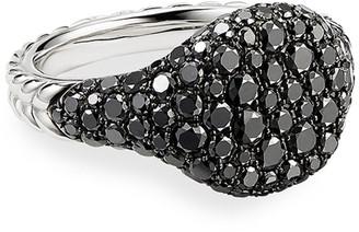 David Yurman Mini Chevron Pave Black Diamond Pinky Ring in 18k White Gold, Size 3.5