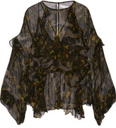 IRO Lixine Ruffled Printed Chiffon Blouse - Black