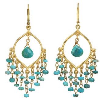 Rachel Reinhardt 14K Over Silver Turquoise Earrings