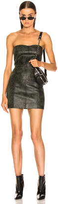 Sprwmn for FWRD Strapless Mini Dress in Green Snake Print   FWRD
