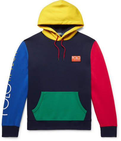 Polo Ralph Lauren Hi-tech Logo-appliquéd Colour-block Jersey Hoodie - Storm blue