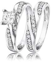 My Trio Rings 7/8 Carat T.W. Princess Cut Diamond Solitaire Womens Bridal Ring Set 14K White Gold