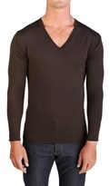Prada Men's Wool V-neck Sweater Brown.