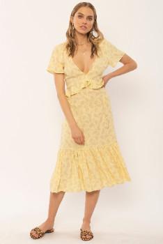Amuse Society Floral and Flowy Scarlett Midi Dress - viscose | M .