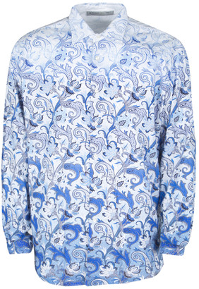 Etro White and Blue Paisley Printed Cotton Long Sleeve Button Front Shirt XL