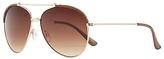 John Lewis Double Bridge Aviator Sunglasses, Gold/Brown Gradient