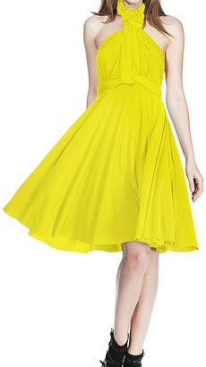 Xas Women Bridesmaid Bandage Convertible Transformer Infinity Multi Way Wrap Solid Color One Shoulder V Neck Party Formal Homecoming Short Dress Yellow S 8
