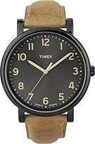 Timex Men's T2N677 Quartz Watch with Black Dial Analogue Display and Brown Leather Strap