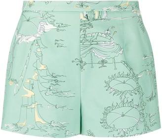 Emilio Pucci La Canzone Del Mare-print high-rise shorts