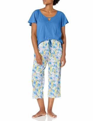 Karen Neuburger Women's Short Sleeve Top and Capri PJ Set with Wicking Technology