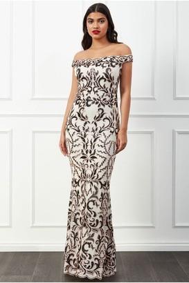 Goddiva Scalloped Bardot Sequin Maxi Dress - Cream