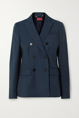 Altuzarra Indiana Double-breasted Embroidered Woven Blazer - Navy