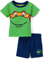 Children's Apparel Network TMNT Green Face Tee & Blue Shorts - Infant