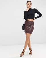 Asos Leather Look Mini Skirt With 80's Waist