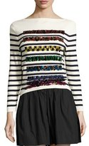 Marc Jacobs Sequined Striped Long-Sleeve Sweater, Navy/Off White
