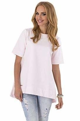 Makadamia Womens Elegant Asymmetric Tunic Short Sleeve Loose Fit Top Sizes 8-16 FA226 Blue