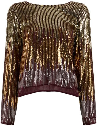 Rixo Bettina ombre sequinned blouse