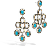 John Hardy Women's Dot Chandelier Earring, Sterling Silver and 18K Gold, 6x4MM Natural Arizona Turquoise