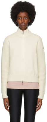 Moncler Off-White Knit Zip-Up Sweater