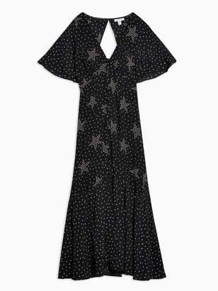 Topshop Star Spot Print Angel Sleeve Midi Dress - Black