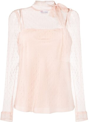 RED Valentino Polka-Dot Lace Blouse