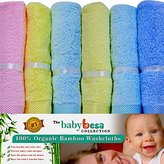 Baby Washcloths | 6 Extra Soft Large Organic Bamboo Baby Shower Ideas (Assorted)