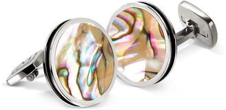 M-Clip Abalone Cuff Links