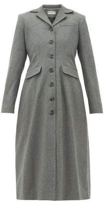 Molly Goddard Karolina Gathered Back Wool Blend Coat - Womens - Grey