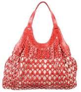 Nancy Gonzalez Crocodile Woven Bag