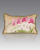 "Jay Strongwater Orchid Pillow, 16"" x 26"""