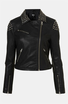 Studded Faux Leather Biker Jacket