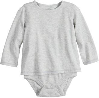 Baby Girl Jumping Beans Adaptive Long-Sleeve Mock-Layer Bodysuit