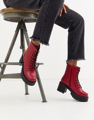 Koi Footwear vegan lace up ankle boots in red