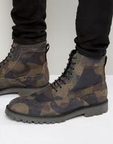 Asos Brogue Boots In Camo Print Suede
