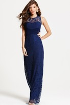Little Mistress Navy Lace Empire Maxi Dress