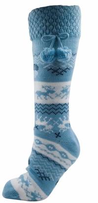 Undercover Womens Foxbury Fairisle Sherpa Lined Slipper Socks SK237A Blue 6-8