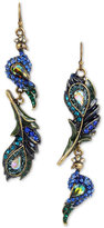 Betsey Johnson Gold-Tone Multi-Stone Peacock Drop Earrings